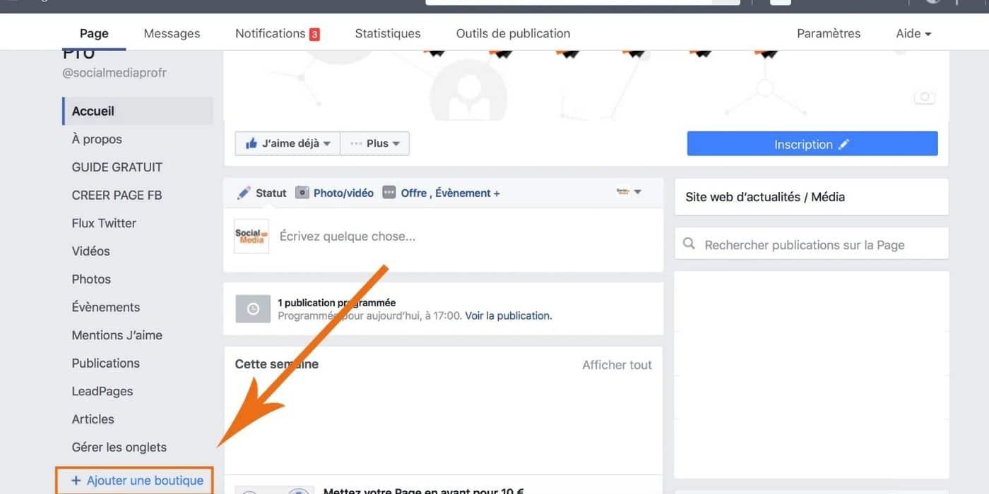 Ajouter une boutique sur Facebook