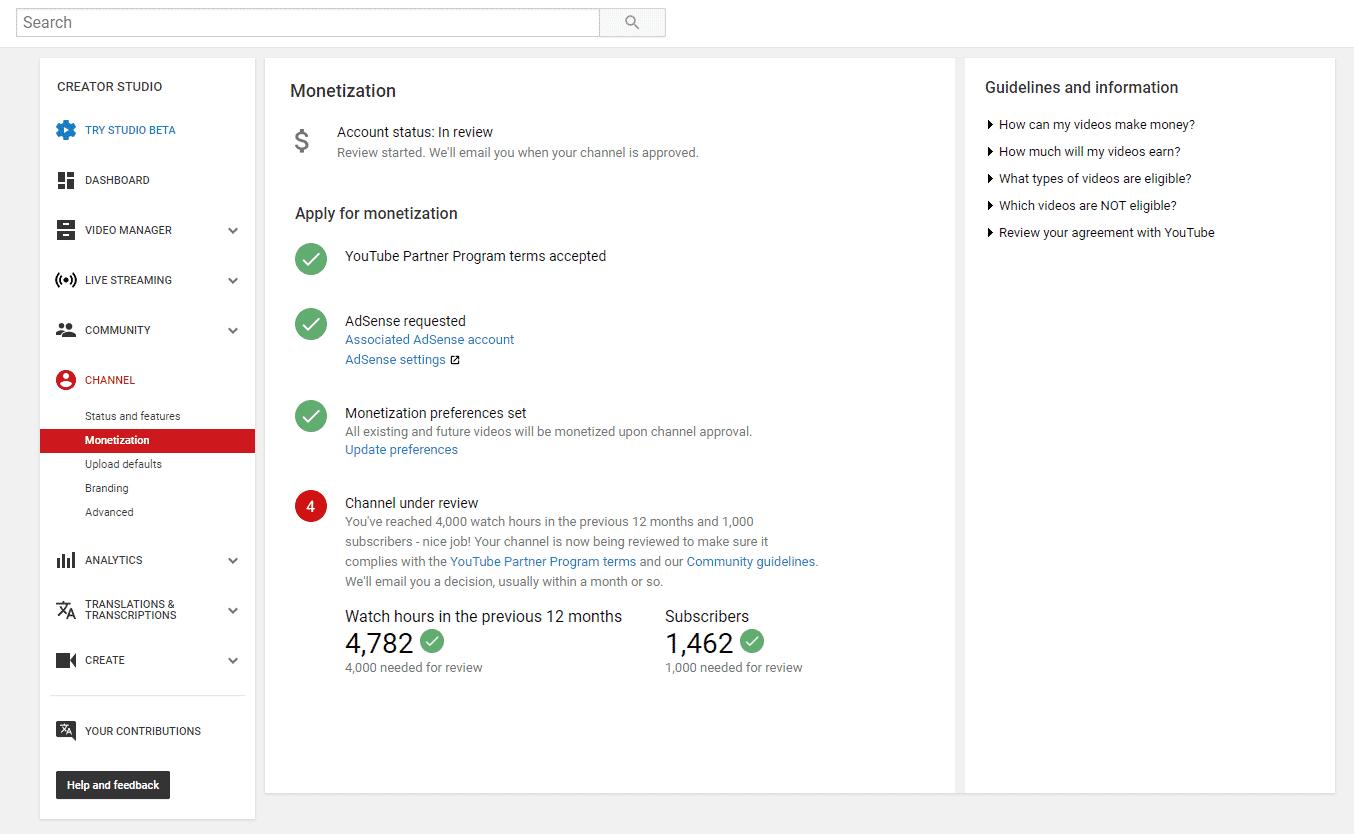 Monétisation sur YouTube